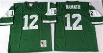 New York Jets #12 Joe Namath Green Stitched Mitchell and Ness NFL Jersey