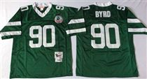 New York Jets #90 Dennis Byrd Green Stitched Mitchell and Ness NFL Jersey