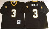 New Orleans Saints #3 Bobby Hebert Black Stitched Mitchell and Ness NFL Jersey