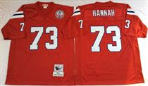 New England Patriots #73 John Hannah Red Stitched Mitchell and Ness NFL Jersey