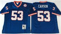 New York Giants #53 Harry Carson Blue Stitched Mitchell and Ness NFL Jersey