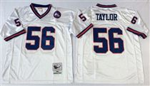 New York Giants #56 Lawrence Taylor White Stitched Mitchell and Ness NFL Jersey