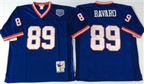 New York Giants #89 Mark Bavaro Blue Stitched Mitchell and Ness NFL Jersey