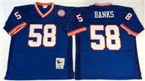 New York Giants #58 Carl Banks Blue Stitched Mitchell and Ness NFL Jersey