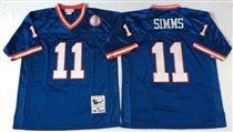 New York Giants #11 Phil Simms Blue Stitched Mitchell and Ness NFL Jersey