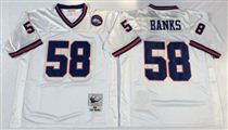 New York Giants #58 Carl Banks White Stitched Mitchell and Ness NFL Jersey