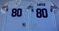 Minnesota Vikings #80 Cris Carter White Stitched Mitchell and Ness NFL Jersey