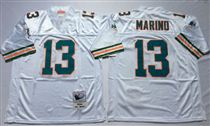 Miami Dolphins #13 Dan Marino White Stitched Mitchell and Ness NFL Jersey