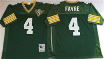 Green Bay Packers #4 Brett Favre Green Stitched Mitchell and Ness Jersey