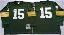 Green Bay Packers #15 Bart Starr Green Long-Sleeved Stitched Mitchell and Ness Jersey