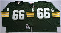 Green Bay Packers #66 Ray Nitschke Green Long-Sleeves Stitched Mitchell and Ness Jersey