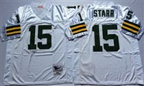 Green Bay Packers #15 Bart Starr White Stitched Mitchell and Ness Jersey