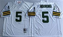 Green Bay Packers #5 Paul Hornung White Stitched Mitchell and Ness Jersey