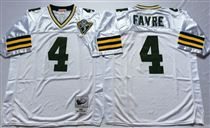 Green Bay Packers #4 Brett Favre White 75TH Stitched Mitchell and Ness Jersey