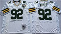 Green Bay Packers #92 Reggie White White 75TH Stitched Mitchell and Ness Jersey