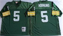 Green Bay Packers #5 Paul Hornung Green Stitched Mitchell and Ness Jersey