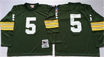 Green Bay Packers #5 Paul Hornung Green Long-Sleeved Stitched Mitchell and Ness Jersey