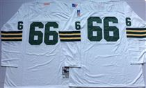Green Bay Packers #66 Ray Nitschke White Long-Sleeves Stitched Mitchell and Ness Jersey