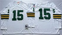 Green Bay Packers #15 Bart Starr White Long-Sleeved Stitched Mitchell and Ness Jersey