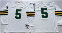 Green Bay Packers #5 Paul Hornung White Long-Sleeved Stitched Mitchell and Ness Jersey