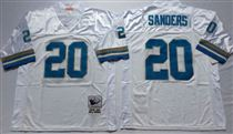 Detroit Lions #20 Barry Sanders White Stitched Mitchell and Ness Jersey