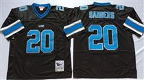 Detroit Lions #20 Barry Sanders Black Stitched Mitchell and Ness Jersey