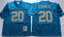 Detroit Lions #20 Barry Sanders Blue Stitched Mitchell and Ness Jersey