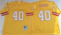 Tampa Bay Buccaneer #40 Mike Alstott yellow stitched Mitchell and Ness Jersey