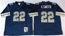 Dallas Cowboys #22 Emmitt Smith Navy Blue Stitched Mitchell and Ness Jersey