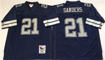 Dallas Cowboys #21 Deion Sanders Navy Blue Stitched Mitchell and Ness NFL Jersey