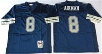 Dallas Cowboys #8 Troy Aikman Navy Blue Stitched Mitchell and Ness NFL Jersey