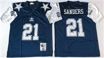 Dallas Cowboys #21 Deion Sanders Blue Thanksgivings Stitched Mitchell and Ness NFL Jersey