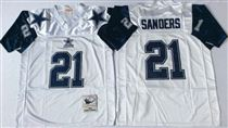 Dallas Cowboys #21 Deion Sanders White Thanksgivings Stitched Mitchell and Ness NFL Jersey