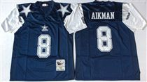 Dallas Cowboys #8 Troy Aikman Blue Thanksgiving Stitched Mitchell and Ness NFL Jersey