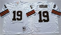 Cleveland Browns #19 Bernie Kosar White Short-Sleeved Stitched Mitchell and Ness Jersey