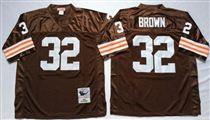 Cleveland Browns #32 Jim Brown Brown Short-Sleeved Stitched Mitchell and Ness Jersey