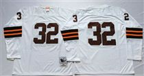 Cleveland Browns #32 Jim Brown White Long-Sleeved Stitched Mitchell and Ness Jersey
