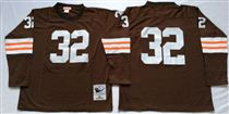 Cleveland Browns #32 Jim Brown Brown Long-Sleeved Stitched Mitchell and Ness Jersey