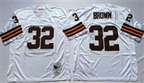 Cleveland Browns #32 Jim Brown White Short-Sleeved Stitched Mitchell and Ness Jersey