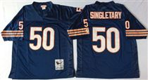 Chicago Bears #50 Mike Singletary Blue Stitch Mitchell and Ness NFL Jersey