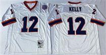 Buffalo Bills #12 Jim Kelly White Stitched Mitchell and Ness Jersey