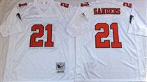 Atlanta Falcons #21 Deion Sanders White Stitched Mitchell and Ness Jersey
