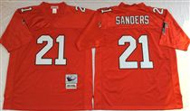 Atlanta Falcons #21 Deion Sanders Red Stitched Mitchell and Ness Jersey
