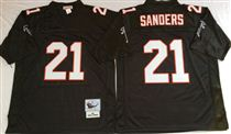 Atlanta Falcons #21 Deion Sanders Black Stitched Mitchell and Ness Jersey