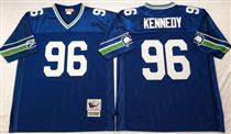 Seattle Seahawks #96 Cortez Kennedy Blue Stitched Mitchell and Ness Jersey