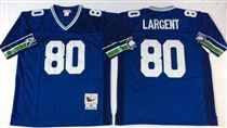 Seattle Seahawks #80 Steve Largent Blue Stitched Mitchell and Ness Jersey