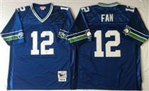 Seattle Seahawks #12 Fan Blue Stitched Mitchell and Ness Jersey