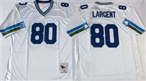 Seattle Seahawks #80 Steve Largent White Stitched Mitchell and Ness Jersey