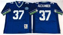 Seattle Seahawks #37 Shaun Alexander Blue Stitched Mitchell and Ness Jersey