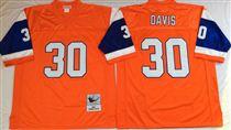 Denver Broncos #30 Terrell Davis Orange Stitched Mitchell and Ness NFL Jersey